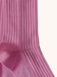 Italian Color Block Crew Socks - Rose / Nude - Back