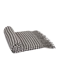 Acrylic Black/White Houndstooth Woven Throw 360g - Black / White - Back