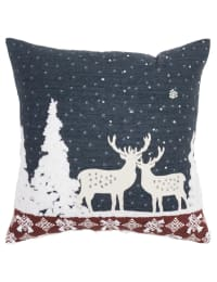 """Holiday Deer Winterscape 20""""x20"""" Blue Cotton Poly Filled Pillow - Blue - Back"""