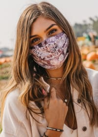 Plum Nose Wire Pleated Print Face Mask - Plum - Back
