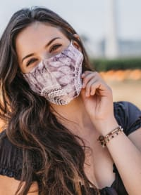 Plum Nose Wire Wide Print Face Mask - Plum - Back