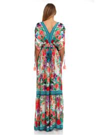 Floral Boho Peasant Dress - Back
