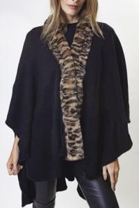 Adrienne Vittadini Solid Knit Kimono with Faux Mink Trim Border - Black / Leopard - Back