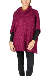 Adrienne Vittadini Large Cable Knit Cowl Neck Poncho - Berry - Back