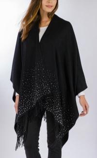 Adrienne Vittadini So soft Ruana with Silver Studs - Black - Back