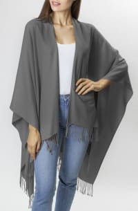 Adrienne Vittadini So soft Color Block Ruana with Fringe - Grey - Back