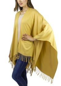 Adrienne Vittadini So soft Color Block Ruana with Fringe - Mustard - Back