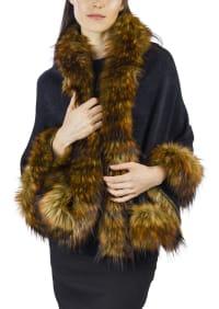 Adrienne Vittadini Solid Knit Ruana with Faux Fur Border - Black / Brown - Back