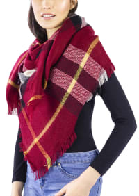 Oversized Plaid Blanket Wrap Scarf - Red - Back