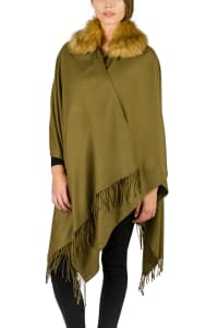 Adrienne Vittadini So Soft Ruana with Faux Fur Collar and Fringes - Olive / Natural Fur - Back