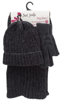 3 Pieces Hat, Scarf, Glove Set with Pom Poms - Black - Back