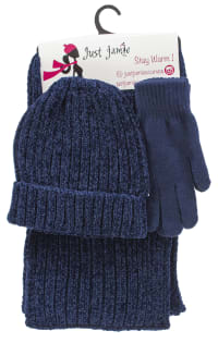 3 Pieces Hat, Scarf, Glove Set with Pom Poms - Navy - Back