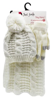 3 Pieces Cable Knit Hat, Glove, Scarf Set with Metallic - Ivory - Back