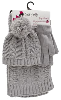 3 Pieces Solid Jersey Cable Knit Hat, Glove, Scarf Set - Light Grey - Back