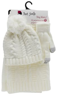 3 Pieces Solid Jersey Cable Knit Hat, Glove, Scarf Set - Ivory - Back