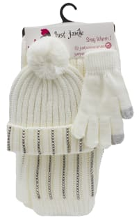 3 Pieces Rib Knit with Stones Hat, Glove, Scarf Set - Ivory - Back