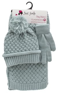 3 Pieces Birdseye Woven Cuff Hat, Glove, Scarf Set - Sea Breeze - Back