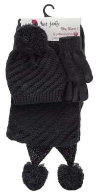 3 Pieces Diagonal Cable Knit Hat, Glove, Scarf Set - Black - Back