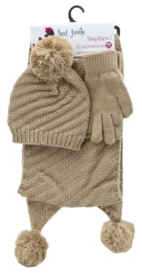 3 Pieces Diagonal Cable Knit Hat, Glove, Scarf Set - Camel - Back