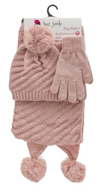 3 Pieces Diagonal Cable Knit Hat, Glove, Scarf Set - Blush - Back