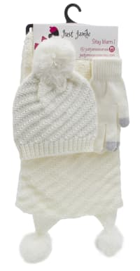 3 Pieces Diagonal Cable Knit Hat, Glove, Scarf Set - Ivory - Back