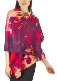 Jessica Mcclintock Super Soft Rev Floral Print Shawl - Back