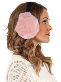 Women's Faux-Fur Winter Earmuffs - Pink - Back