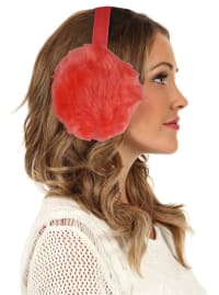 Women's Faux-Fur Winter Earmuffs - Red - Back