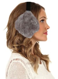 Women's Faux-Fur Winter Earmuffs - Grey - Back
