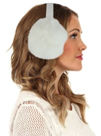 Women's Faux-Fur Winter Earmuffs - White - Back