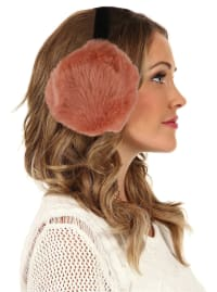 Women's Faux-Fur Winter Earmuffs - Brick - Back
