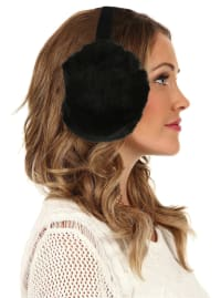 Women's Faux-Fur Winter Earmuffs - Black - Back