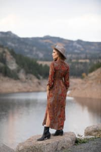Paisley Maxi Shirt Dress - Rust - Back