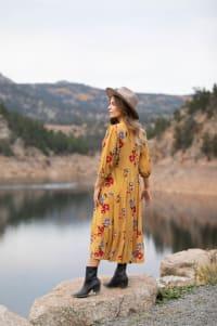 Silvia Midi Floral Dress - Misses - mustard - Back