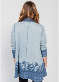 Border Print Open Knit Cardigan - Blue - Back
