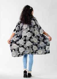 St. Kitts Mandala Kimono Cover Up - Black / Cream - Back