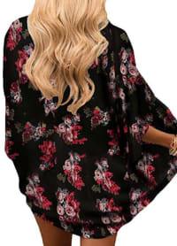Black Kimono - Plus - Black / Flower Print - Back