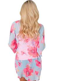 Flamingo Kimono - Light Blue - Back
