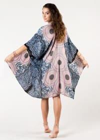 Koh Samui Mandala Kimono Cover Up - Pink Gray / Cream Black - Back