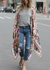 New York Kimono - Plus - White Floral - Back