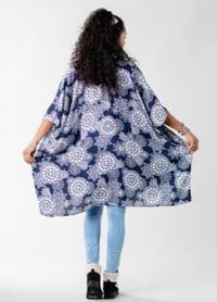 Barbados Mandala Kimono Cover Up - Navy / White - Back