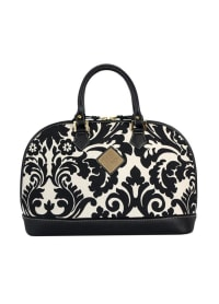Antonia Leather Handbag - Black / White Print - Back
