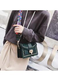 Betty Shoulder Bag - Velvet Finish - Green - Back
