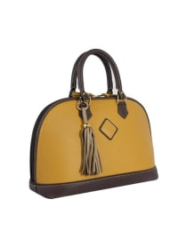 Antonia Leather Handbag - Goldenrod / Chocolate - Back