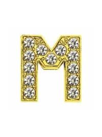 Pave Letter M - Gold Charm - Gold - Back
