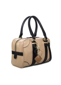 Carlotta Leather Handbag - Tan / Midnight Black - Back