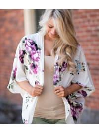 Blossom Kimono - Plus - White / Flower Print - Back