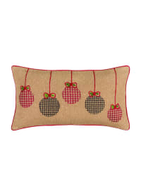 "Jute Christmas Ornaments 14""x26"" Dark Natural Cotton Poly Filled Pillow - Natural - Back"