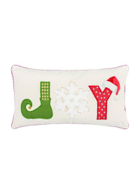 "JOY Word 14""x26"" Multi Color Cotton Pillow Cover - White - Back"