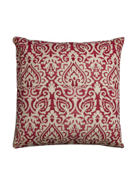 Damask Red & Natural Throw Pillow - Red - Back